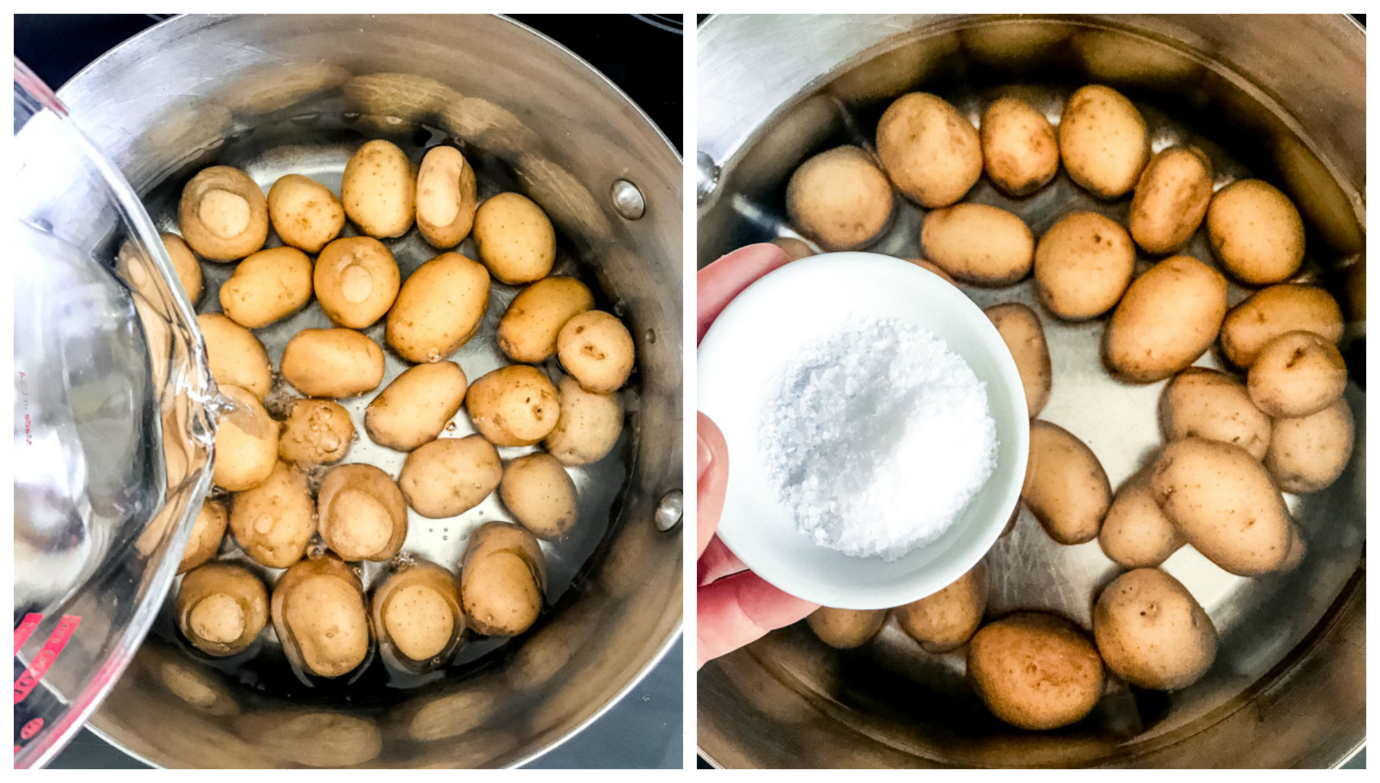 Baby potatoes in cooking pot