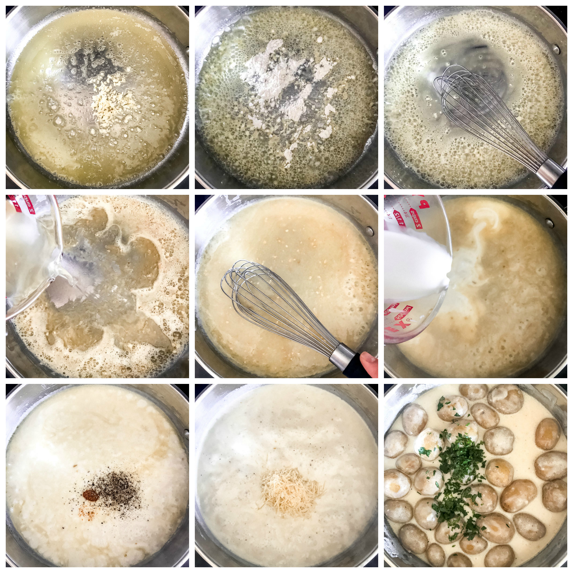 Step by step instruction on how to make garlic parmesan cream sauce with potatoes