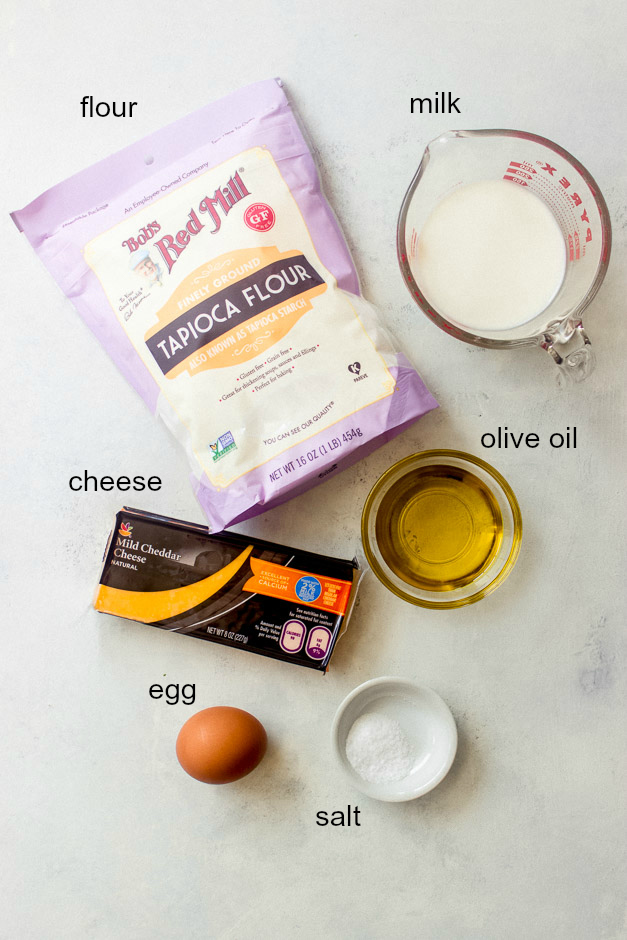 Ingredients for gluten free cheese bread