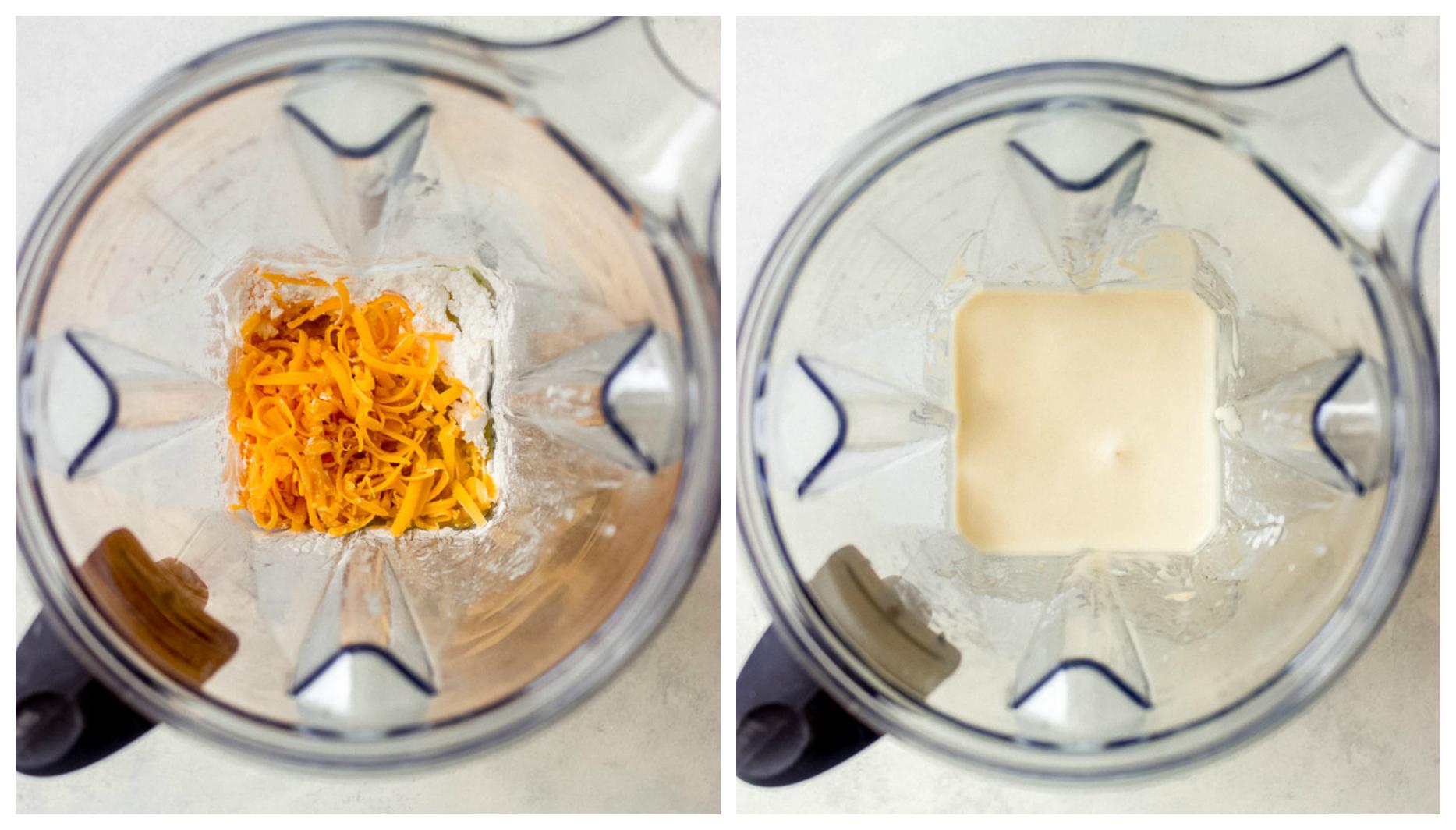 Gluten free cheese bread batter in a blender