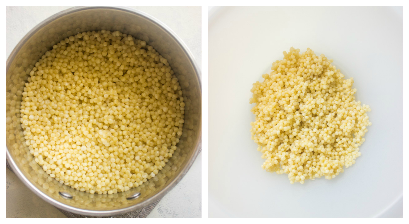 Cooked Israeli couscous in white bowl