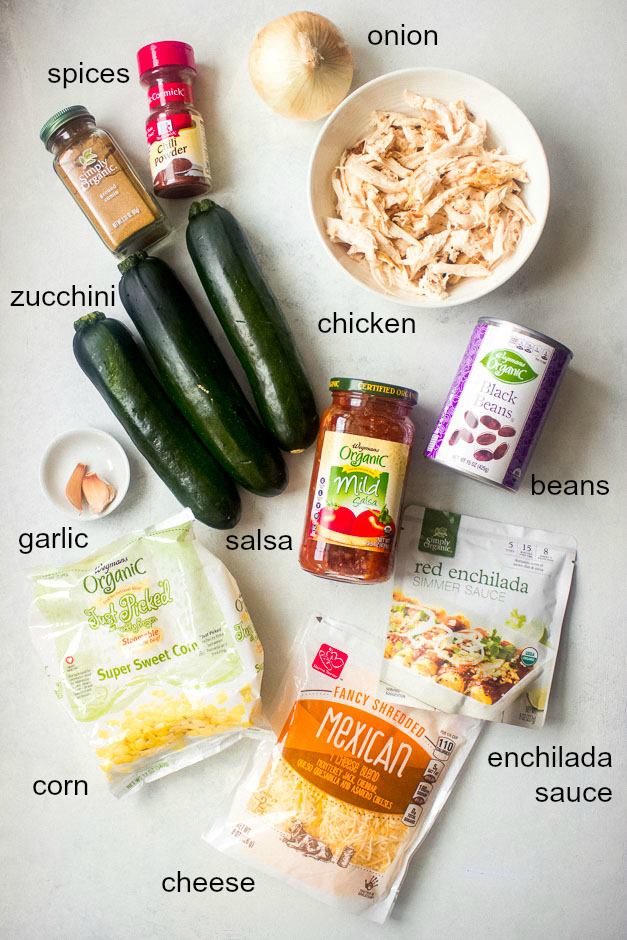 Ingredients for zucchini chicken enchiladas