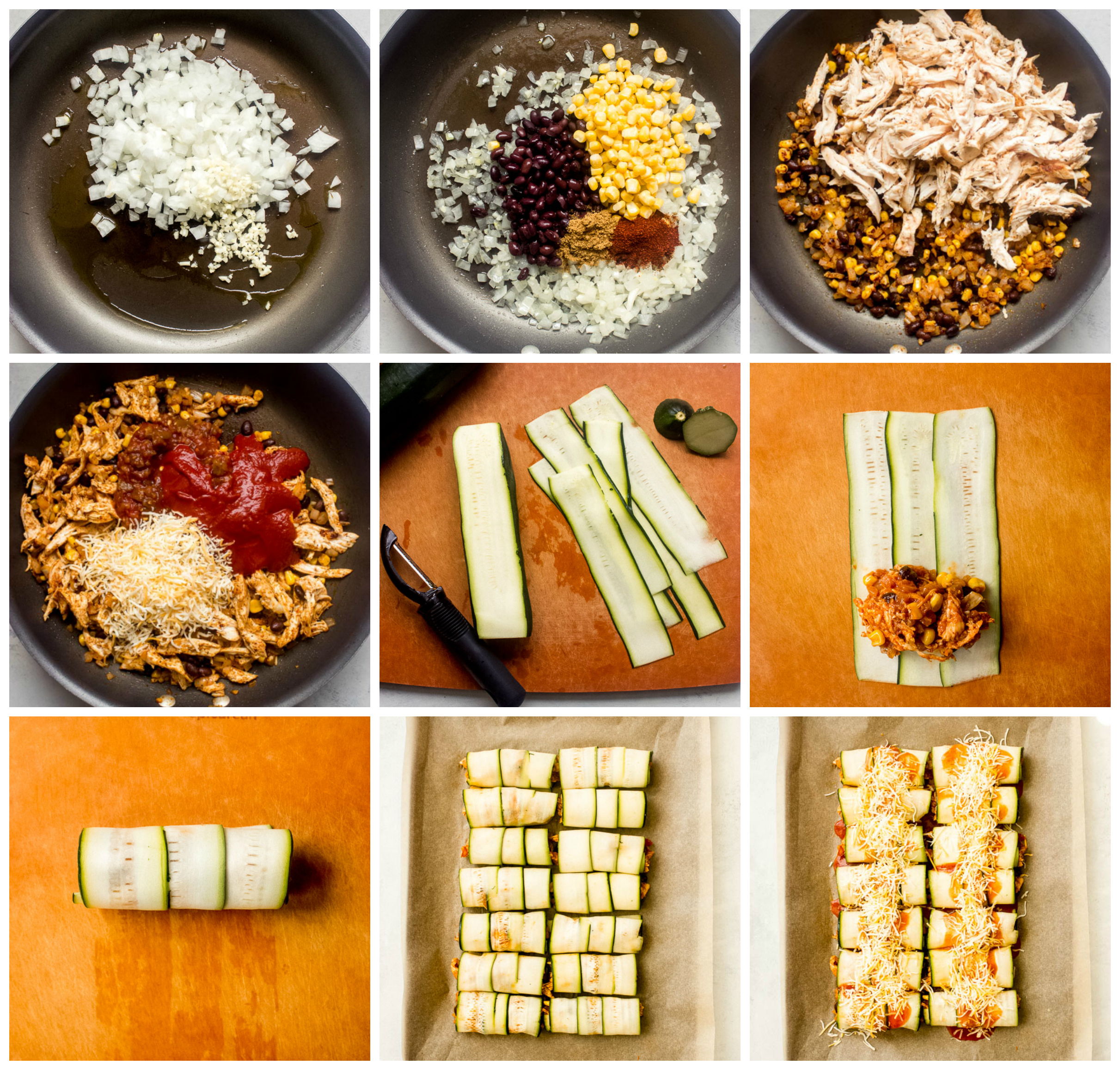 Step by step instructions for zucchini enchiladas