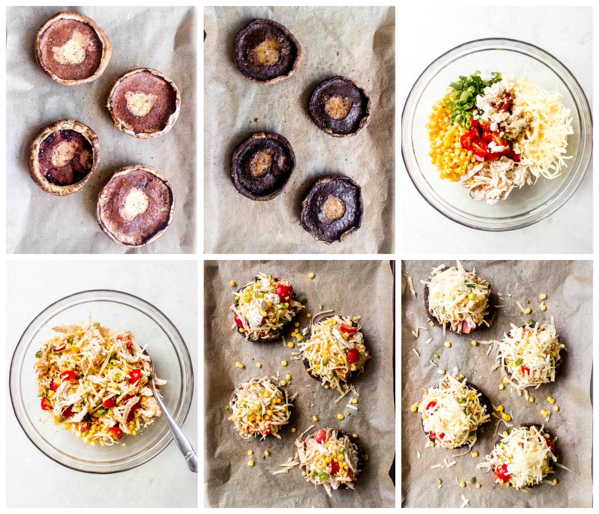 Step by step on how to make stuffed portobello mushrooms