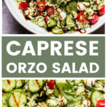 Caprese orzo salad with cucumbers and basil vinaigrette