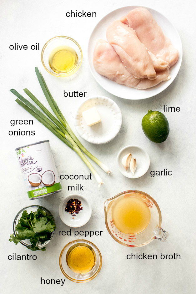 Ingredients for coconut lime chicken