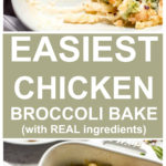 Vertical image chicken broccoli pasta bake