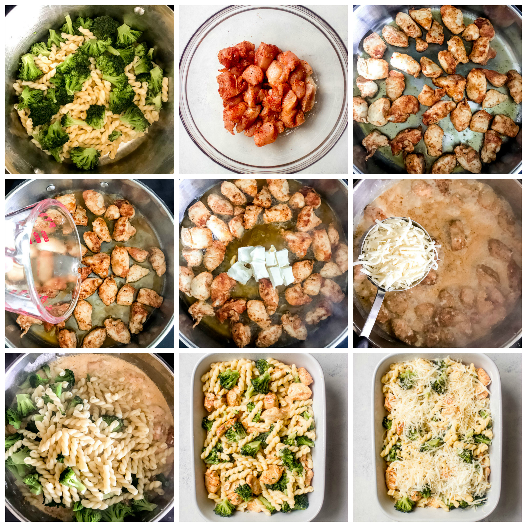 Step by step on how to make chicken pasta broccoli bake