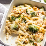 Close up side view chicken broccoli bake