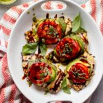 Overhead grilled balsamic chicken recipe on white platter
