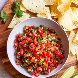 Overhead best homemade fresh tomato salsa