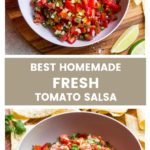 Close up best homemade salsa with fresh tomatoes
