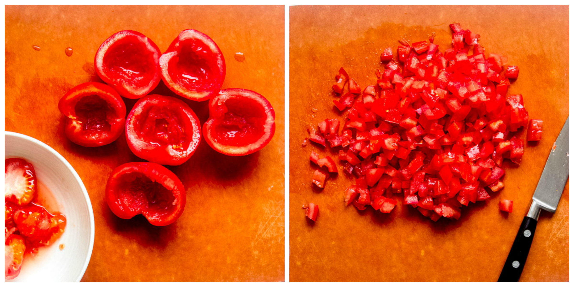 Chopped up best tomatoes for salsa