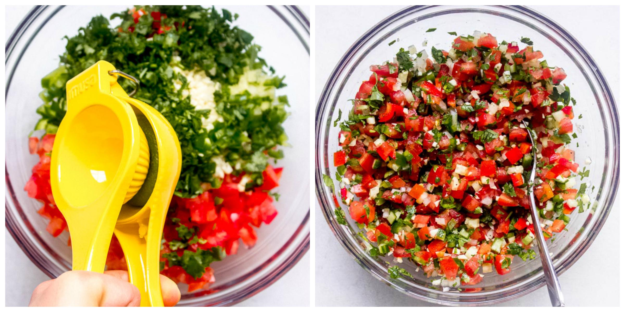 Tomato salsa in glass bowl