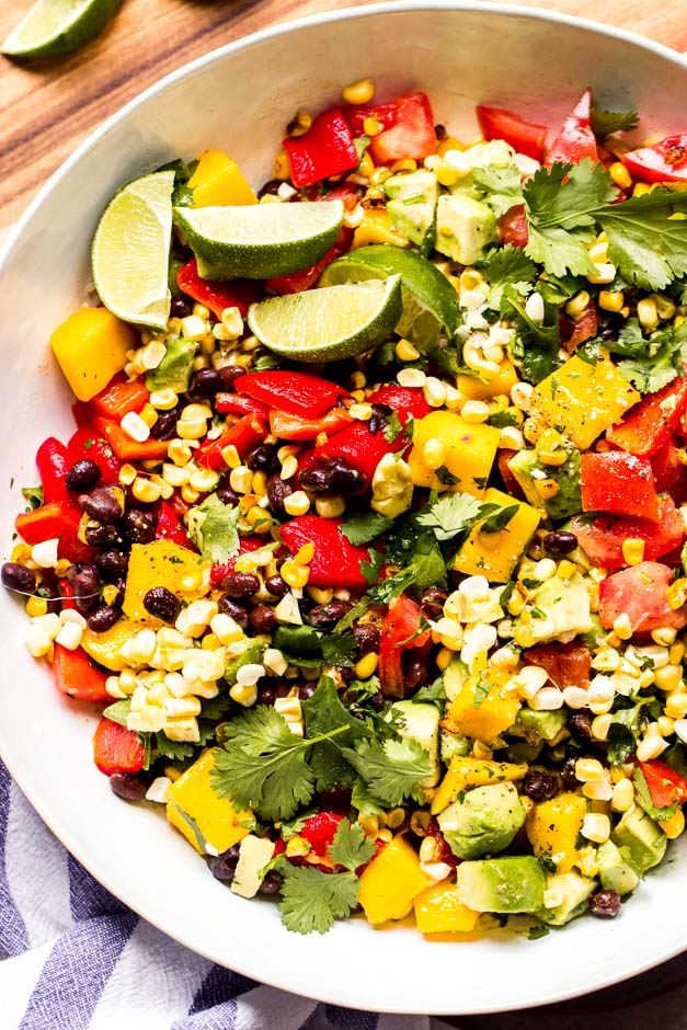 Close up chopped Mexican salad in white bowl