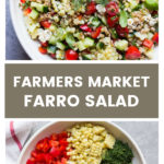 Overhead farmers market farro salad