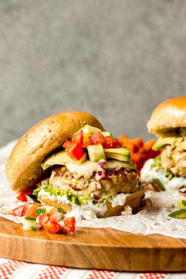 Close up of juicy turkey burger recipe