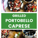 Overhead portobello mushrooms with caprese