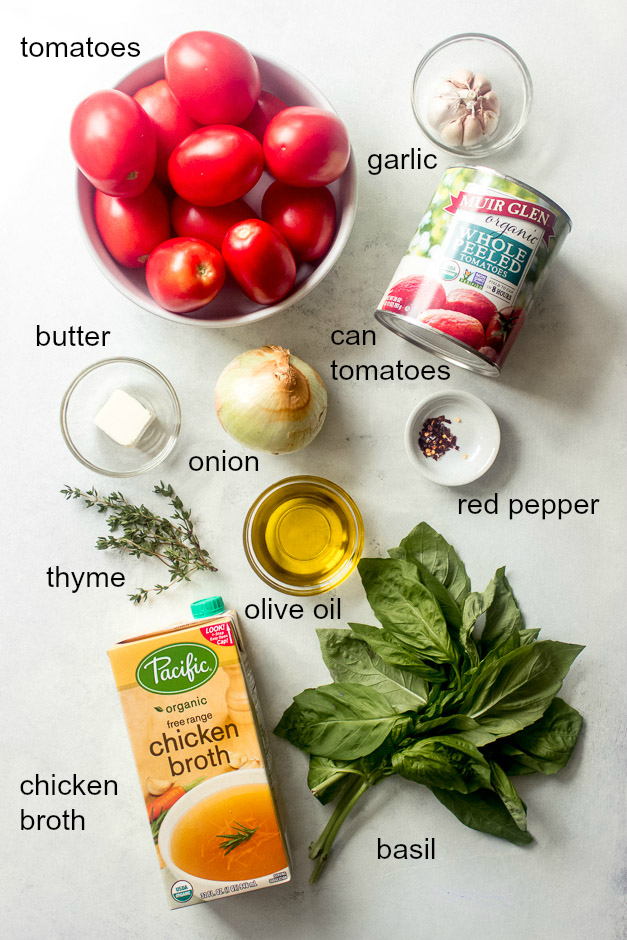 Ingredients for tomato basil soup.