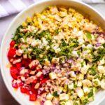 Overhead zucchini corn salad