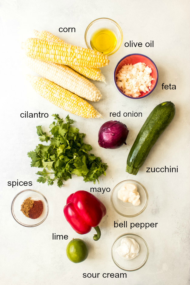 Ingredients for corn and zucchini salad
