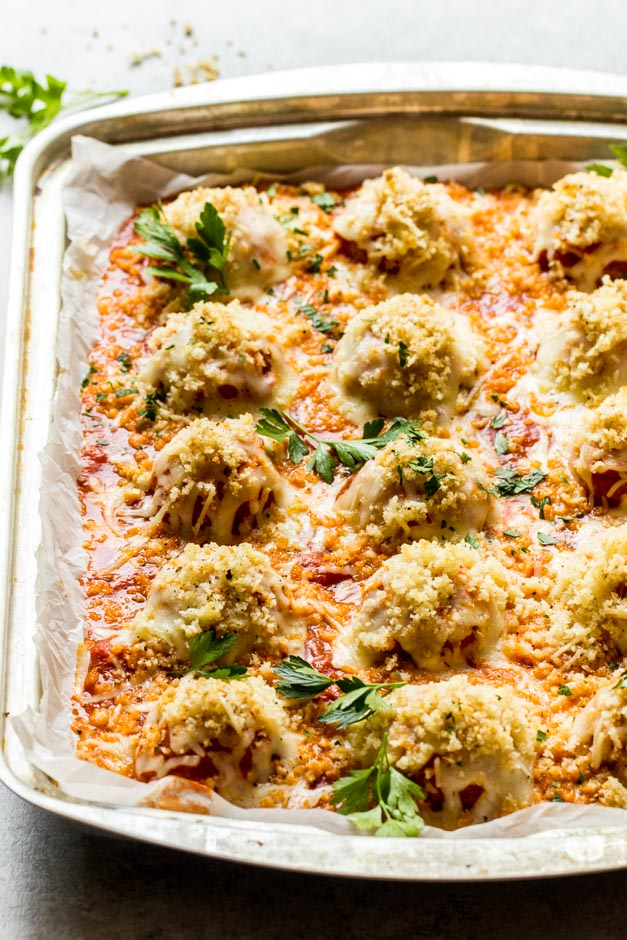 Parmesan chicken meatballs in a tray