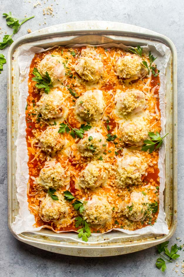 Overhead chicken meatballs with parmesan and garlicky crumbs