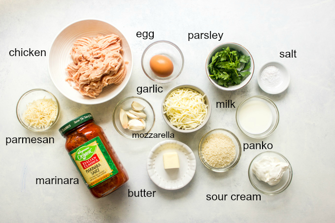 Ingredients for baked chicken parmesan meatballs