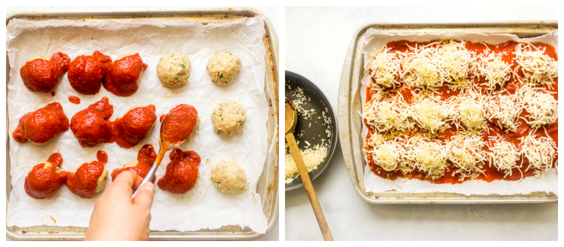 Oven baked chicken parmesan meatballs
