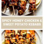 Grilled spicy honey chicken kebabs with sweet potatoes
