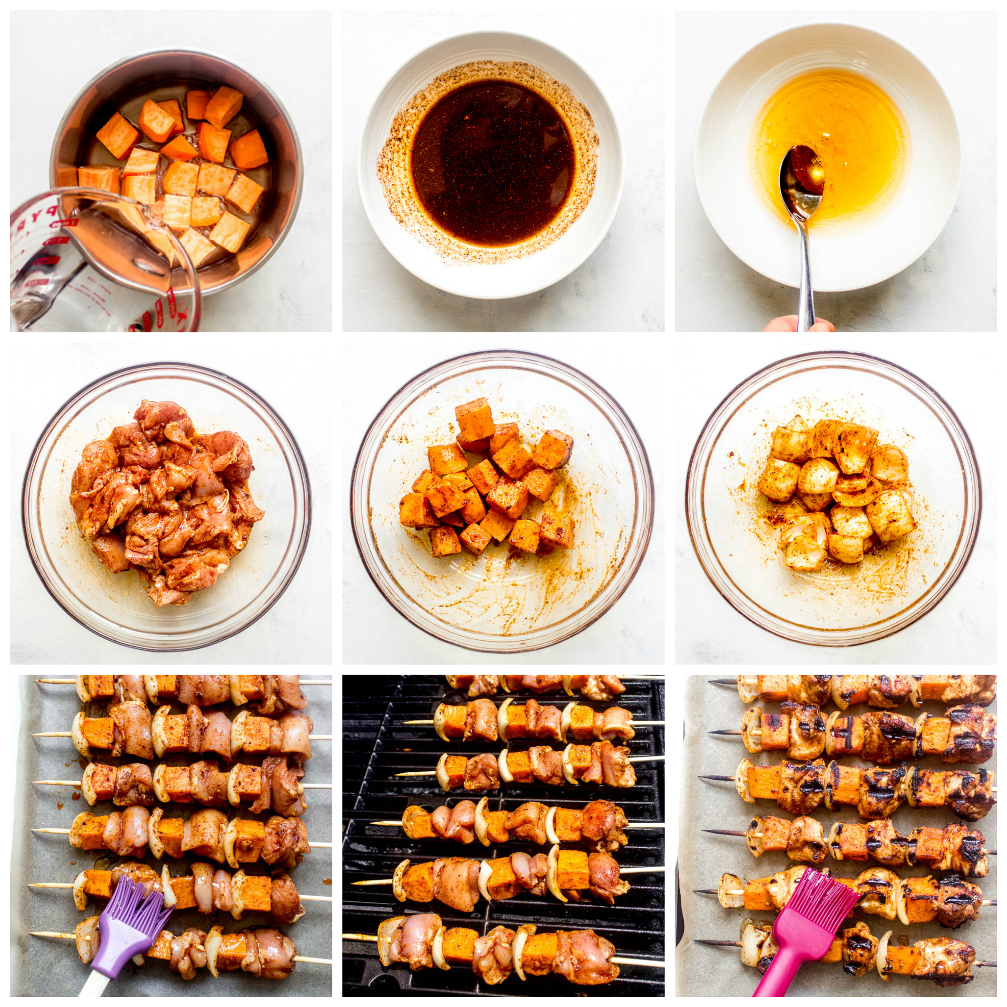 Step by step instructions for spicy honey glazed chicken and sweet potato kebabs