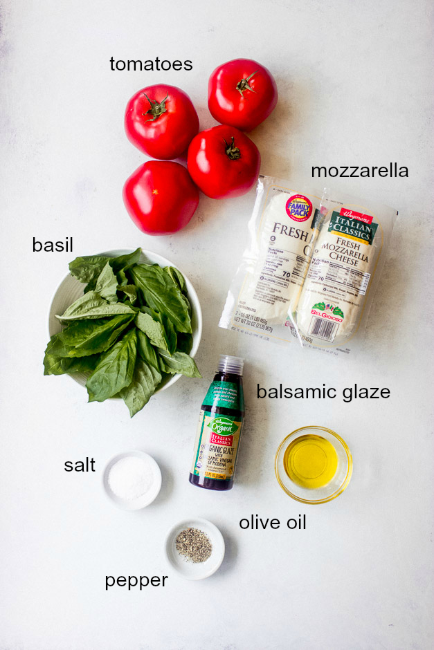 Ingredients for tomato and mozzarella salad