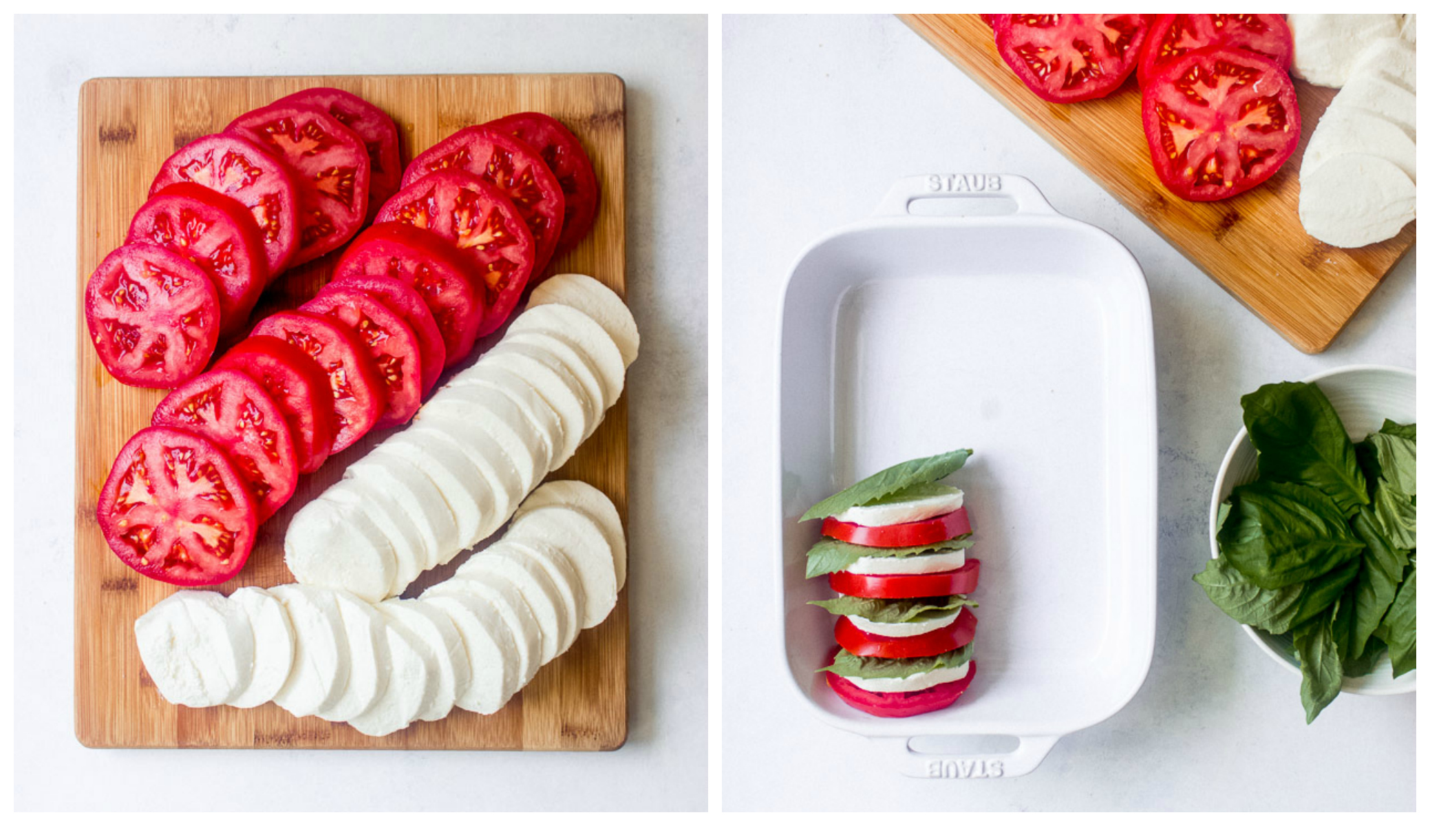 Step by step on how to make tomato mozzarella salad