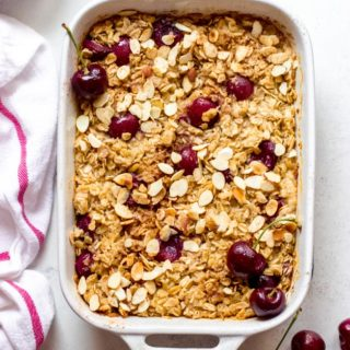 Overhead healthy oatmeal bake in white pan.