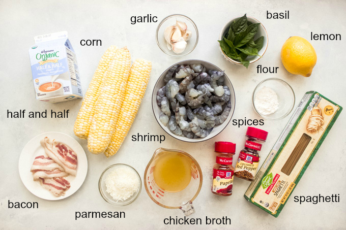 Ingredients for pasta with corn
