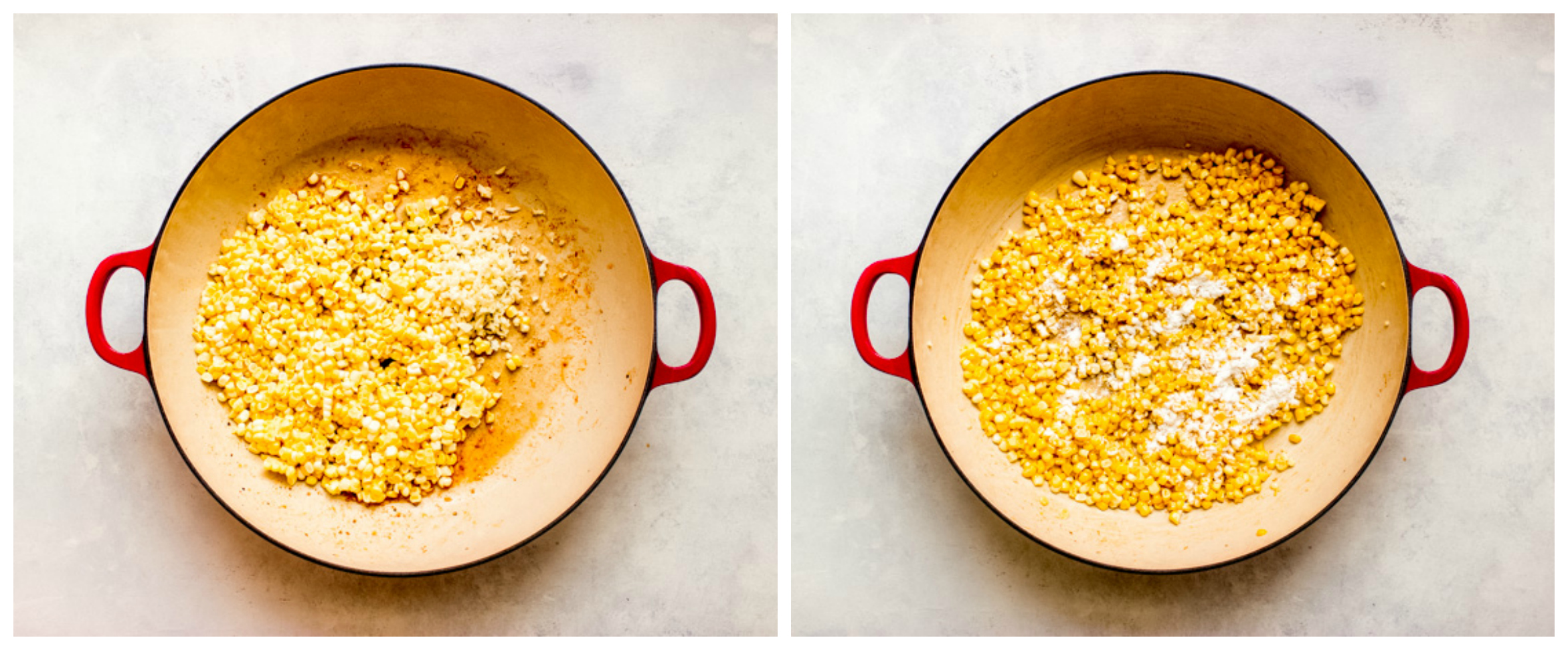 corn and garlic in pan