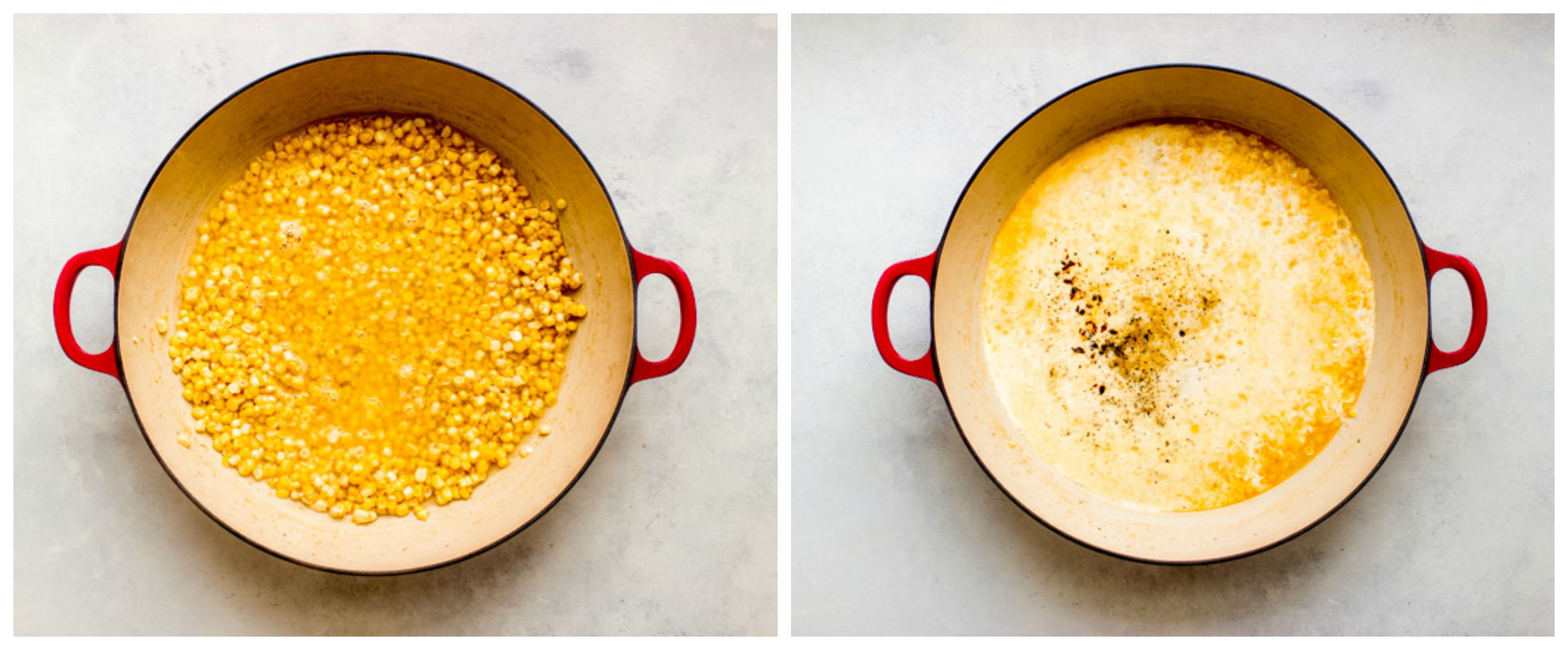 creamy corn in pan