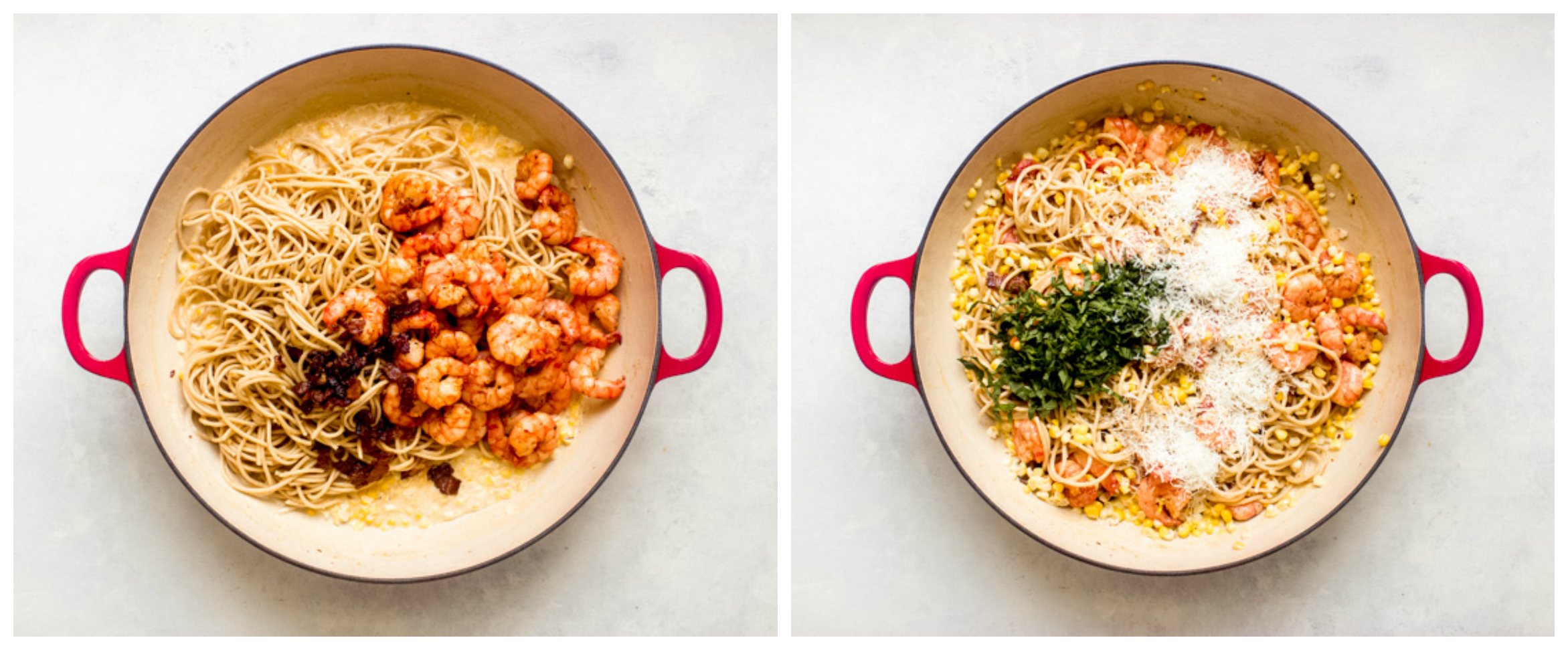 cooked spaghetti and shrimp in pan