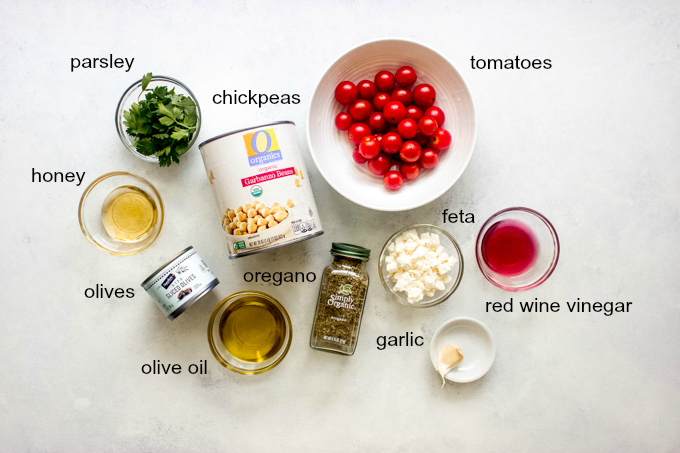 Ingredients for chickpea tomato salad