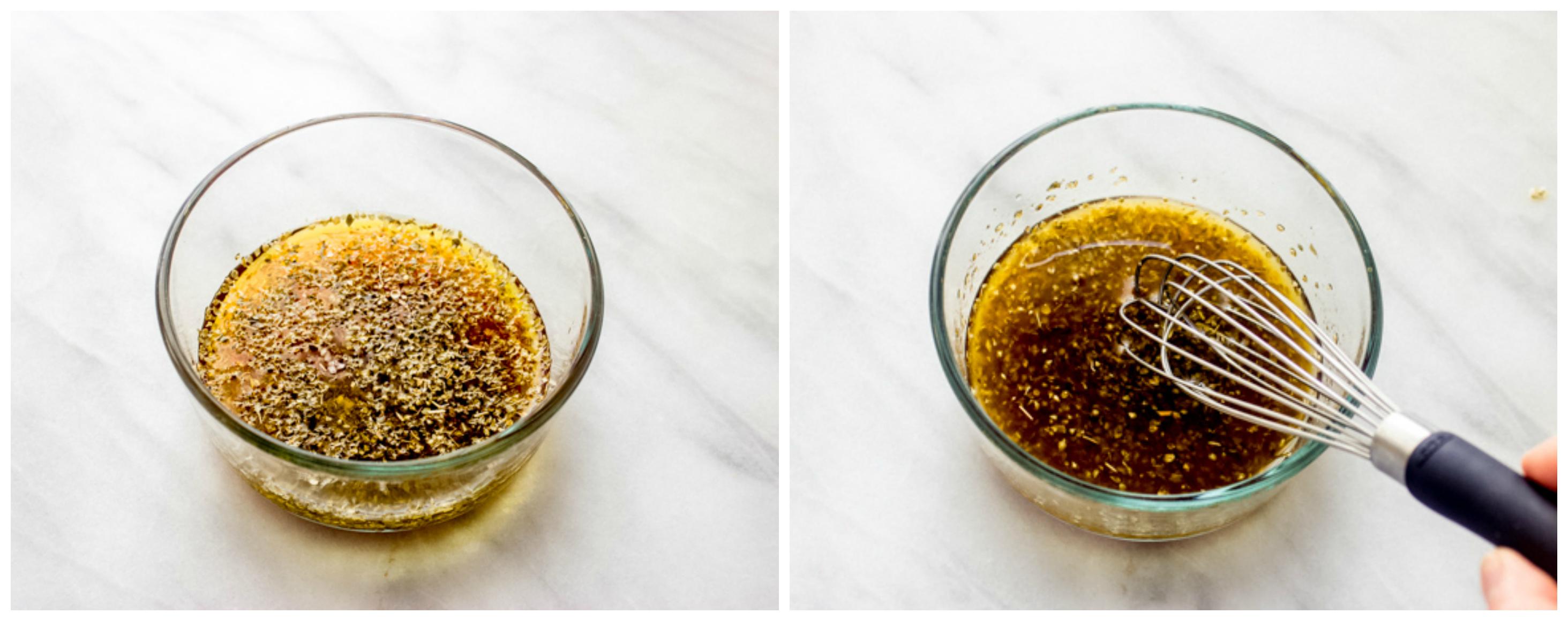 Oregano vinaigrette in glass bowl