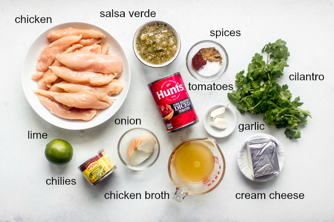 Ingredients for quick shredded chicken