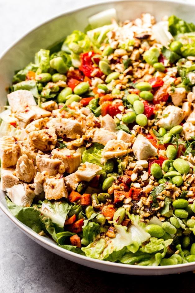 close up side view panera spicy thai chicken salad