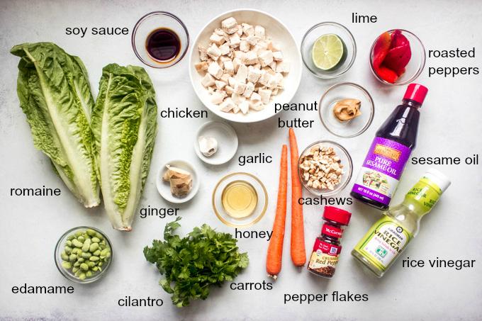Ingredients for panera thai salad