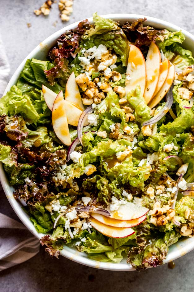 close up walnut salad with apples