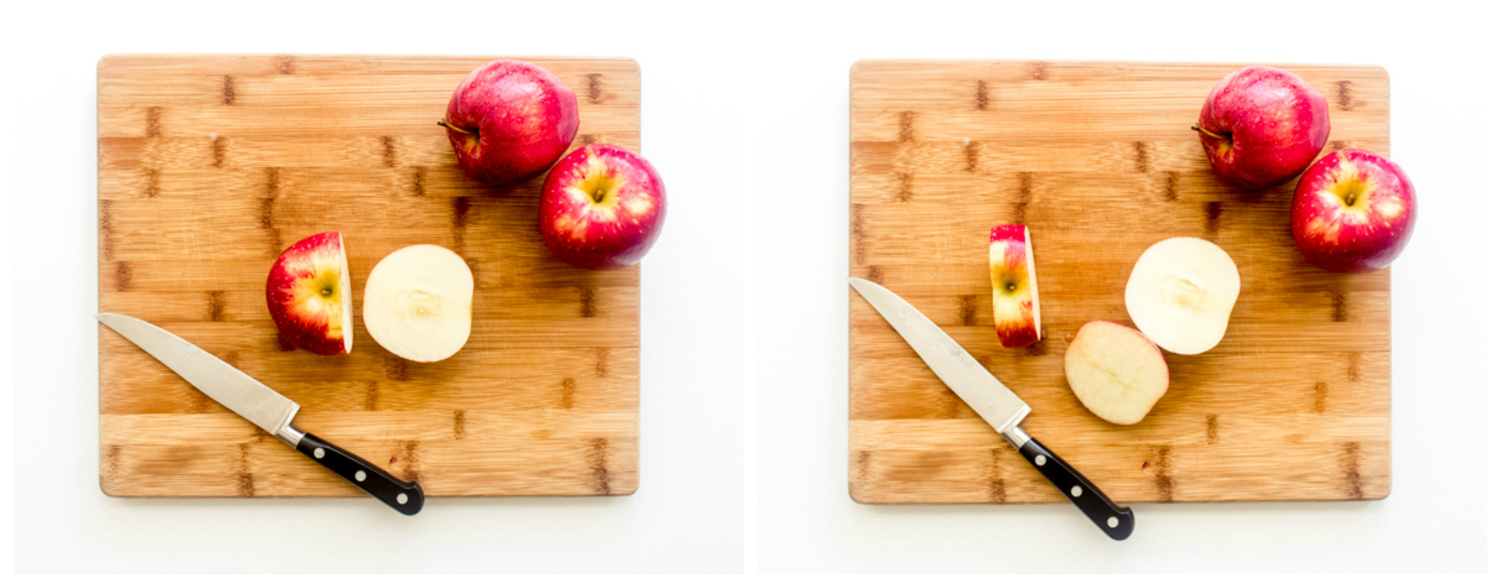 cut up apples on a board