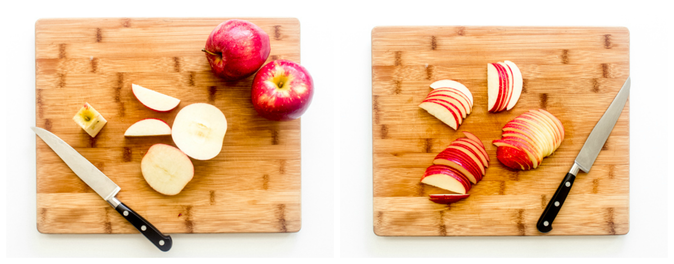 sliced apples on brown board