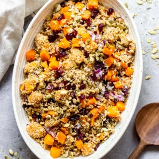 butternut squash quinoa salad in oval white bowl