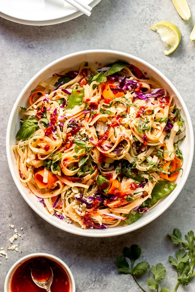 overhead rice noodle salad with chili garlic dressing