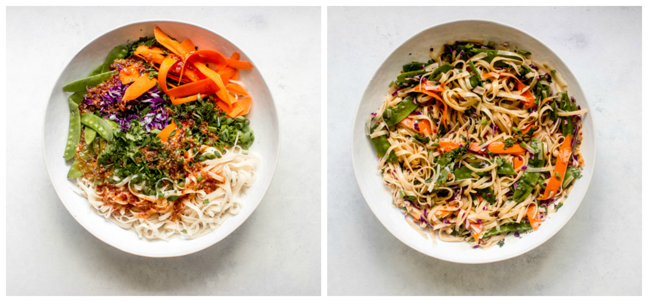 brown rice noodle salad with vegetables