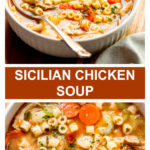 close up italian chicken noodle soup